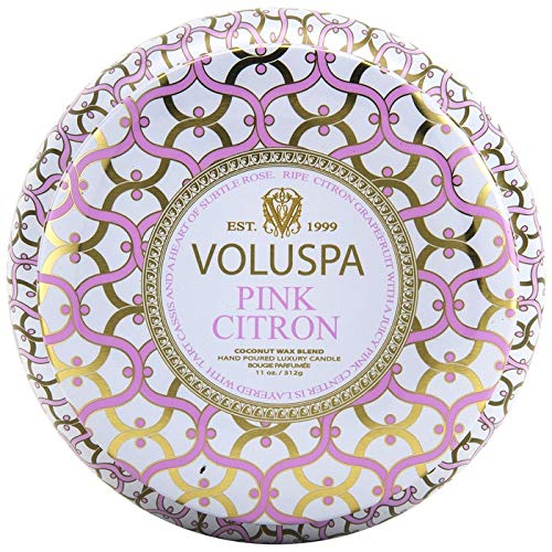 Voluspa Pink Citron 2 Wick Metallo Tin Candle, 11 Ounces