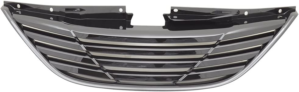 HY1200154 S/&T Racing Matte Black Horizontal Front Hood Bumper Grill Grille Cover Abs For 10-13 Sonata MPN