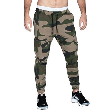 1f5fc0930500ce Bliefescher Herren Chino Hose Fitness Camo Slim Fit Atmungsaktiv Schnell  Trocknend Sporthosen