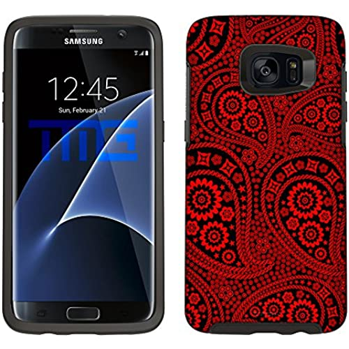 Skin Decal for Otterbox Symmetry Samsung Galaxy S7 Edge Case - Paisley Red and Flowers on Black Sales