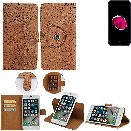 Korkhülle Wallet Case Schutzhülle für Apple iPhone 7 Plus, Kork Case Walletcase Portemonnaie Schutz Hülle Flip cover Smartphone Tasche - K-S-Trade(TM)