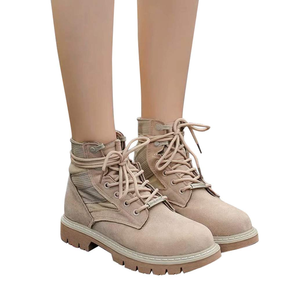 Ankle Boots,Women Winter Keep Warm Casual Biker Boots Lace-Up Martin Shoes Outdoor (Khaki, US:9.5)