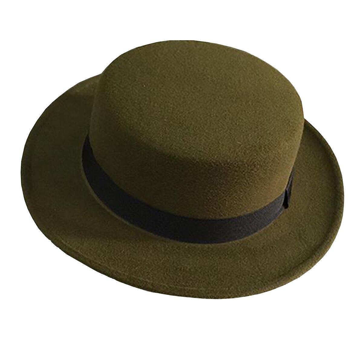 Norboe NE Women's Brim Fedora Wool Flat Top Hat Church Derby Bowknot Cap NE160588