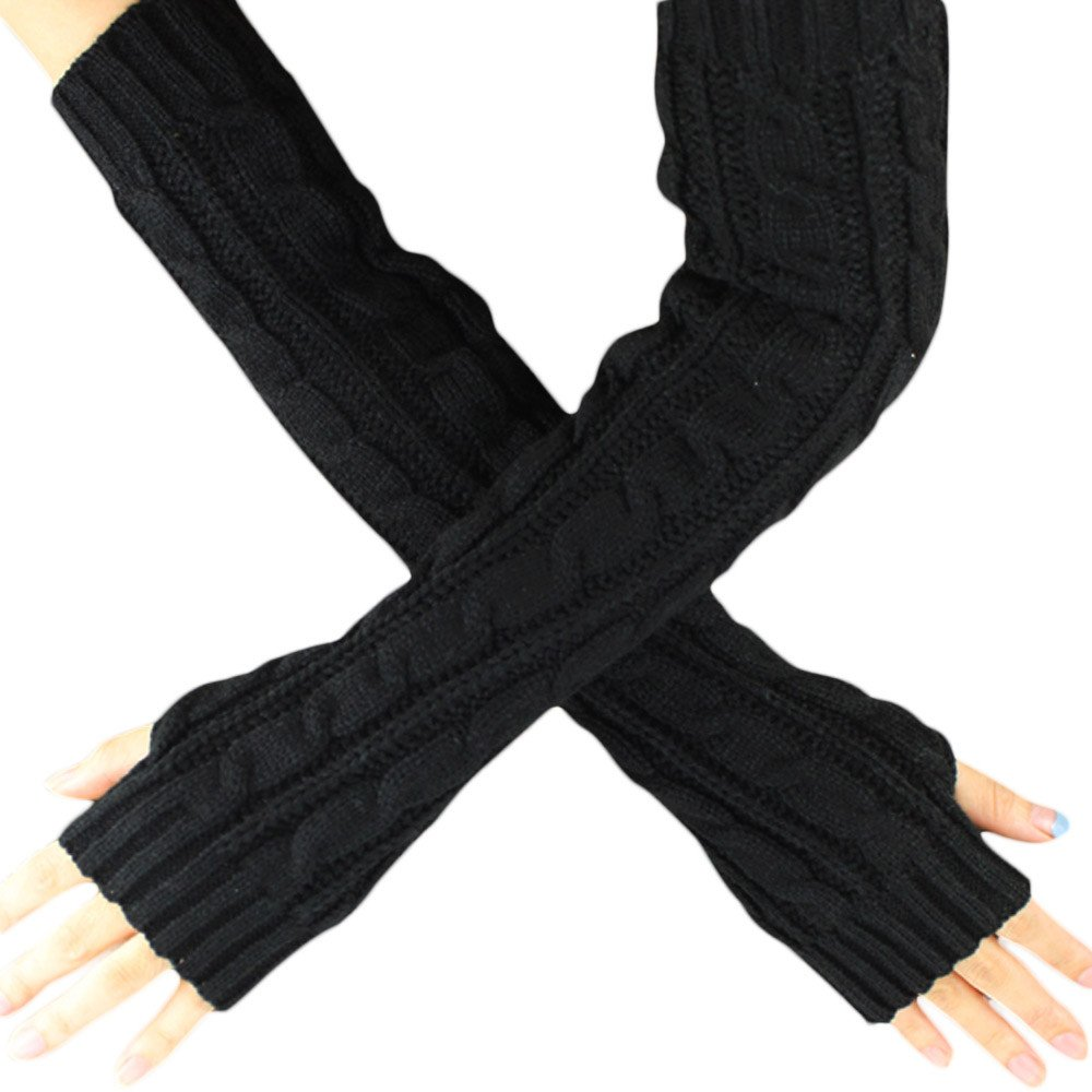 Mnyycxen Women Winter Warm Knit Fingerless Gloves Hand Crochet Thumbhole Arm Warmers Mittens (Black)