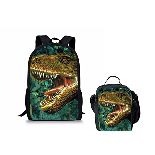 Instantarts Cool Dinosaur Pattern Durable School Book Bags and Insulated Lunchboxes for Kids Boys