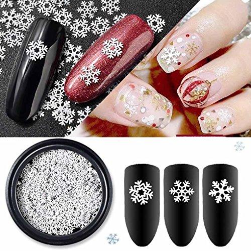 Nair Art,Putars Snowflake Shaped Dazzling Nail Sticker Colorful Cute Easy Nail Art Decoration for Christmas Decorations (Arts Christmas For Nail)