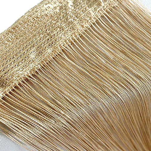 NUOMI Door String Curtain Wall Panel Window Room Divider Blind, Home Decorative Tassel Screen Ribbon Strings, 100x200cm, Champagne