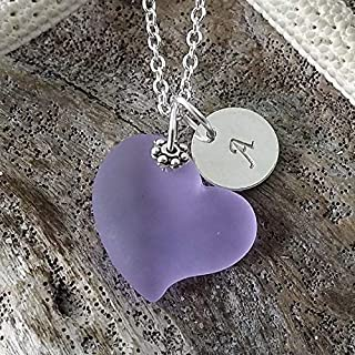 "product image for Personalized,""Magical Color Changing"" purple heart sea glass necklace with""Initial Charm"", (Hawaii Gift Wrapped, Customizable Gift Message)"