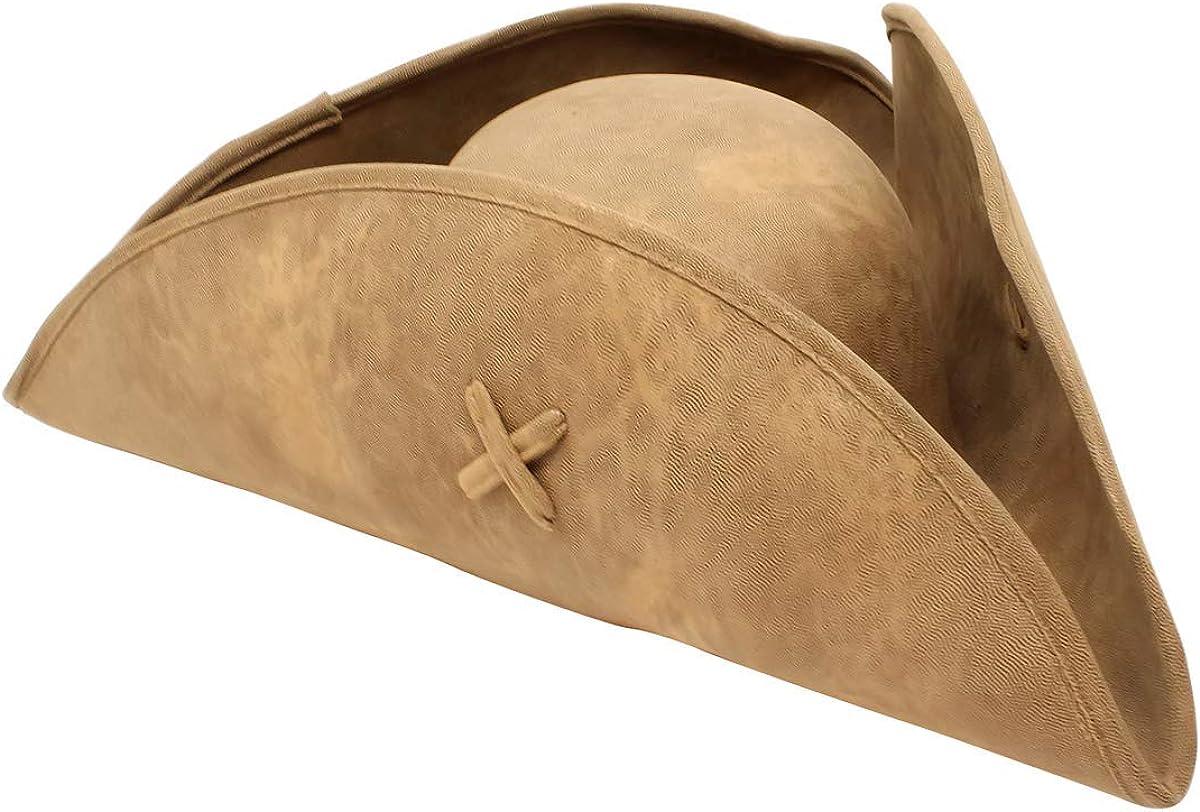 TRICORN HAT BROWN ANCIENT PIRATE CAPTAIN LOOK FANCY DRESS ADULT