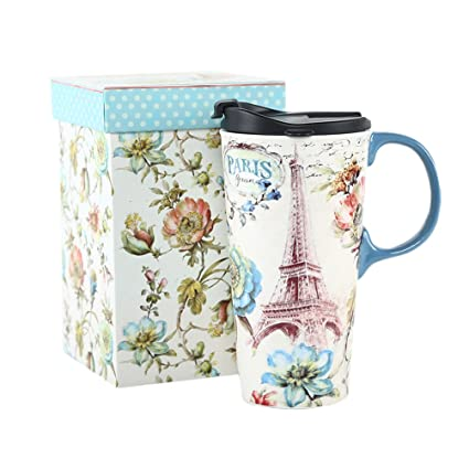 45870f767d9 Amazon.com | 17 oz. Ceramic Travel Mug Sealed Lid With Gift Box: Coffee  Cups & Mugs