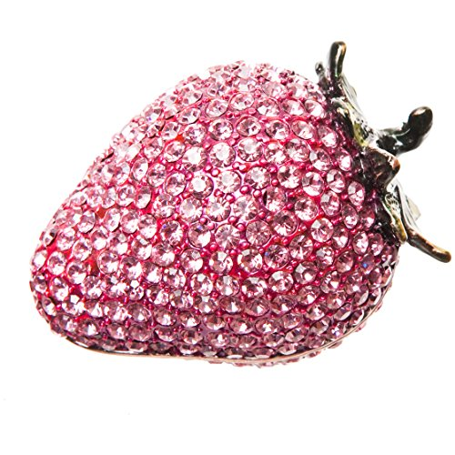 Alexander Kalifano Jeweled Strawberry Crystal Gift Box, Made with Swarovski Elements Crystals, Pink (Jeweled Gift Boxes)