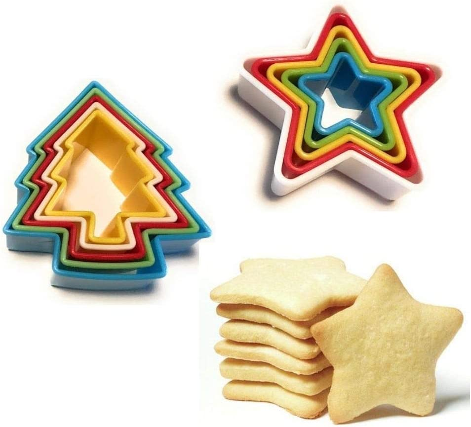 Amazon Com Cook S Fancy Holiday Cookie Cutter Set Christmas Tree Star Shapes 10 Pieces Kitchen Dining
