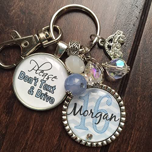 amazon com  please don u0026 39 t text and drive safe driver personalized pale blue chevron keychain