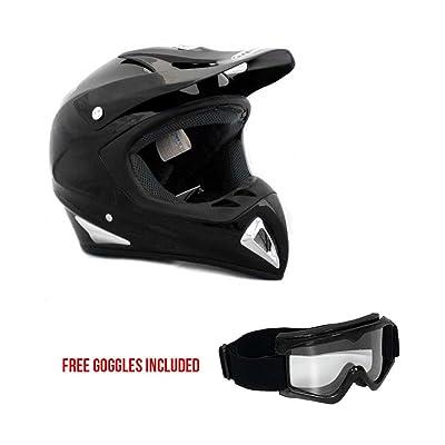 Adult Motorcycle Helmet Off Road MX ATV Dirt Bike Motocross UTV - Shiny Black (Medium) + FREE Goggles
