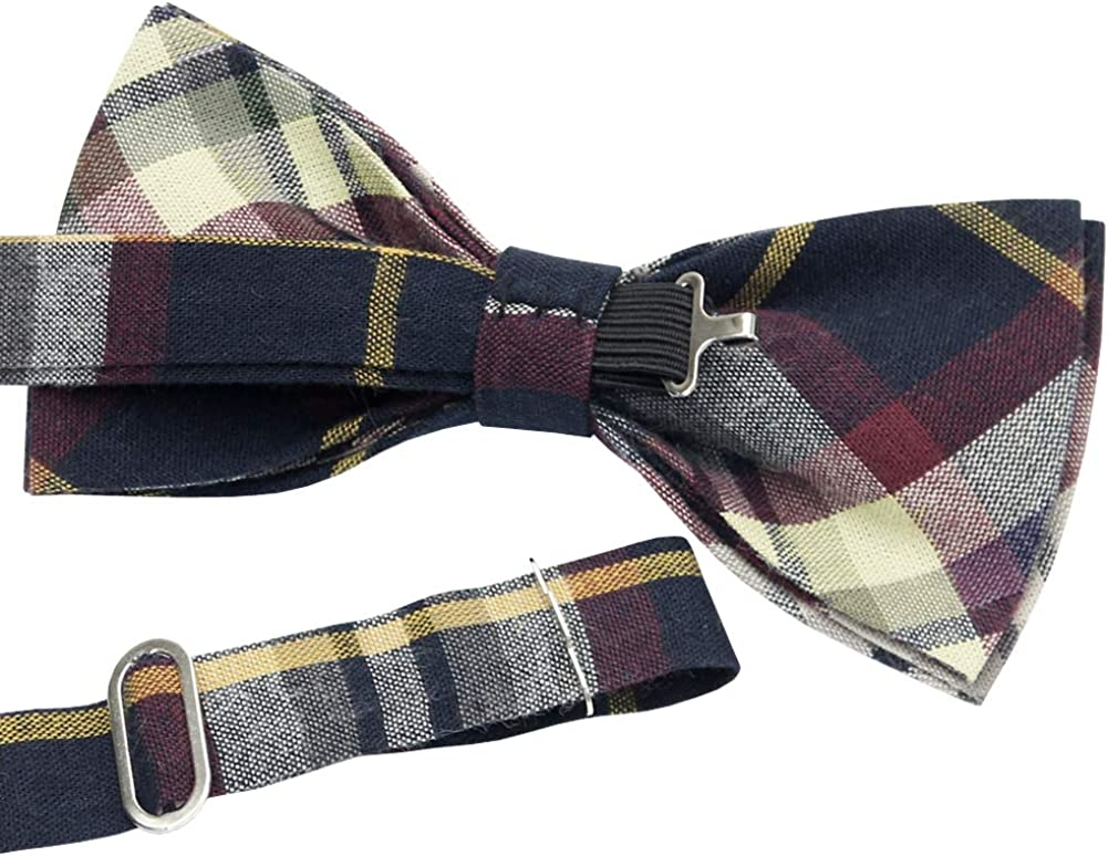 *BRAND NEW* MULTI-COLOR CHECKED COTTON LUXURY TUXEDO MENS BOW TIE B729