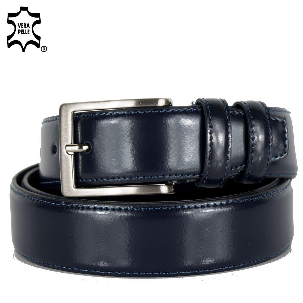 Cintura uomo in pelle vera da cerimonia elegante cinta artigianale classica casual cuoio nera in Vera Pelle Emila ESLA24