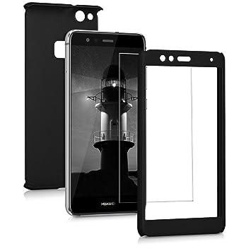 kwmobile Funda para Huawei P10 Lite, Carcasa protectora completa con cristal templado, con protector de pantalla duro, Negro metalico