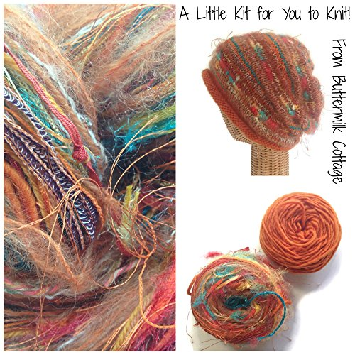 Boutique Yarn Slouchy Hat Knitting Kit Orange One Size by Buttermilk Cottage