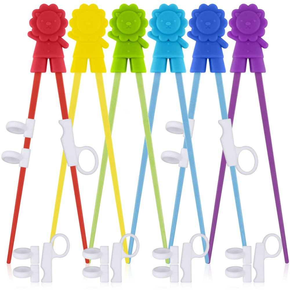 6 Pairs of Easy-to-Use Training Chopsticks with Helpers, SourceTon's Training Chopstick for Right or Left-Handed Kids Teens Adults Beginners.