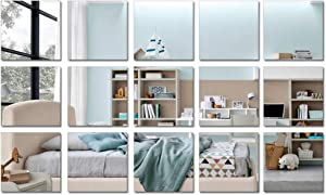 15 Pieces Square Acrylic Mirror Sticker Sheet, Removable Silver Mirror Wall Decor, Self Adhesive Wall Sticker Decals for Bathroom Living Room Bedroom Decor(6 x 6in)