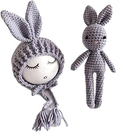 Bunnys knitted toy accessories for Baby photography