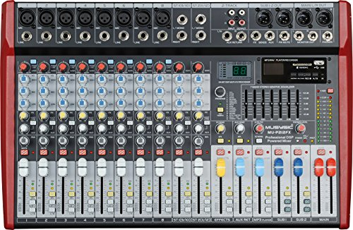 MUSYSIC Professional 12 Channel 8000W Power Mixer 24-bit FX Processor MU-P212fx by MUSYSIC