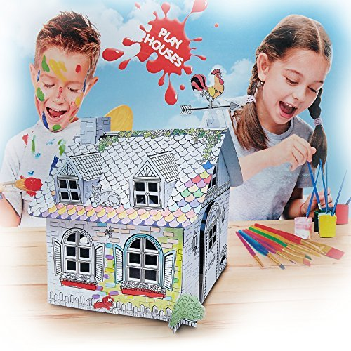 My Little Farm House Cardboard Playhouse - Corrugated Color In Coloring Play House for Kids - 20 Inches Tall, Easy Assembly, Fast Fold - by Spiritoy
