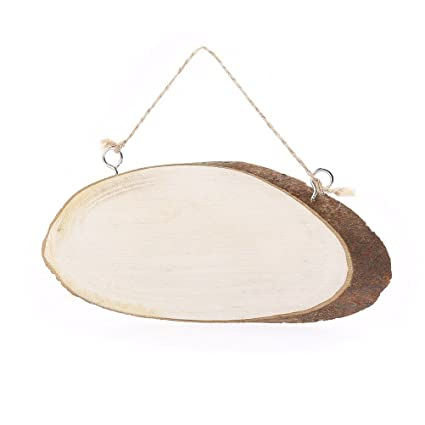 RDEXP 4X Oval Unfinished Natural Wood Slices Tree Bark Log Discs with Rope L 17cm-21cm