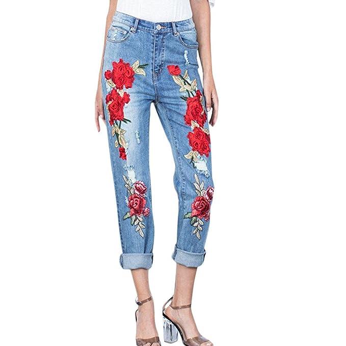Mujer Vaqueros Slim con Bordado STRIR Pantalones Vaqueros ...