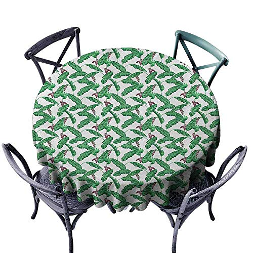 ScottDecor Patterned Round Tablecloth Picnic Cloth Banana Leaf,Lush Jungle Leafage Flowering Stems of Island Tree Hawaiian Aloha Pattern, Green Plum White Diameter 50