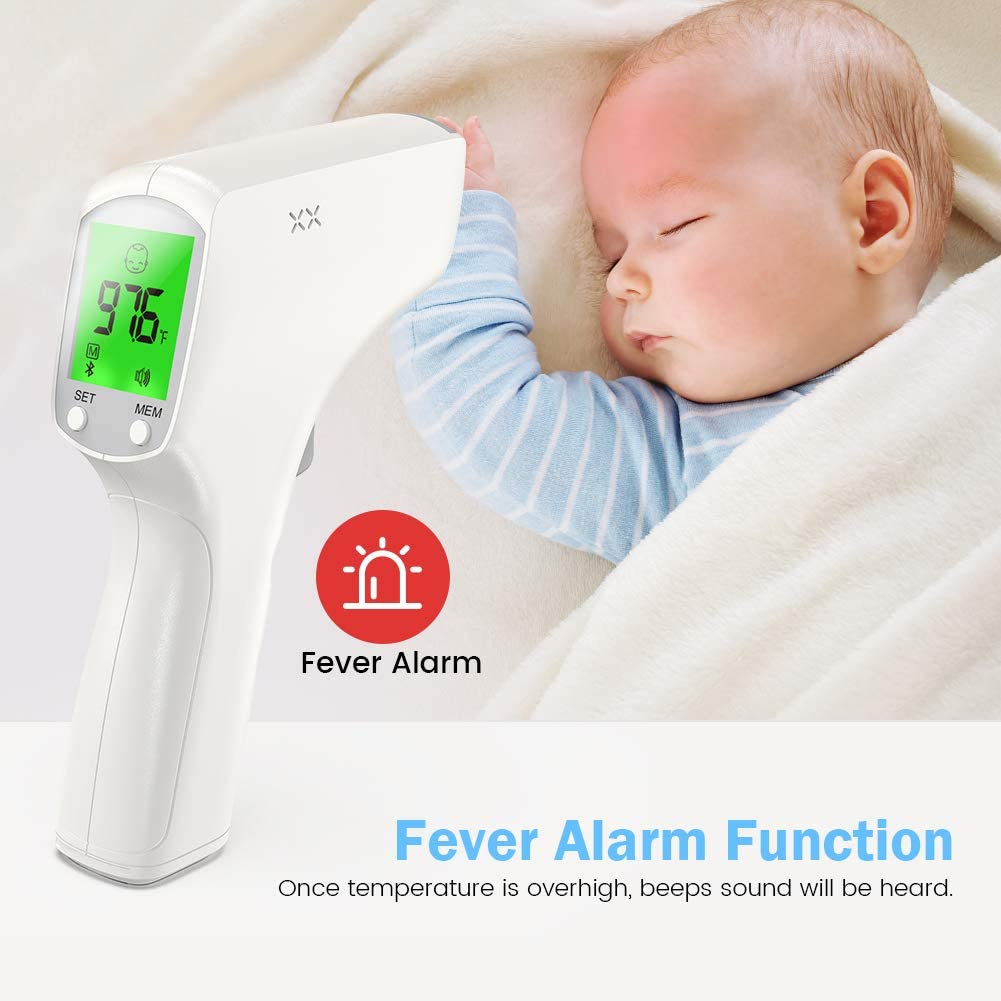 RINKMO Infrared Forehead for Adults Kids Baby Humans Temperature Scanner Medical Fever Temperature Measurement Non Contact Digital Device with LCD Reading