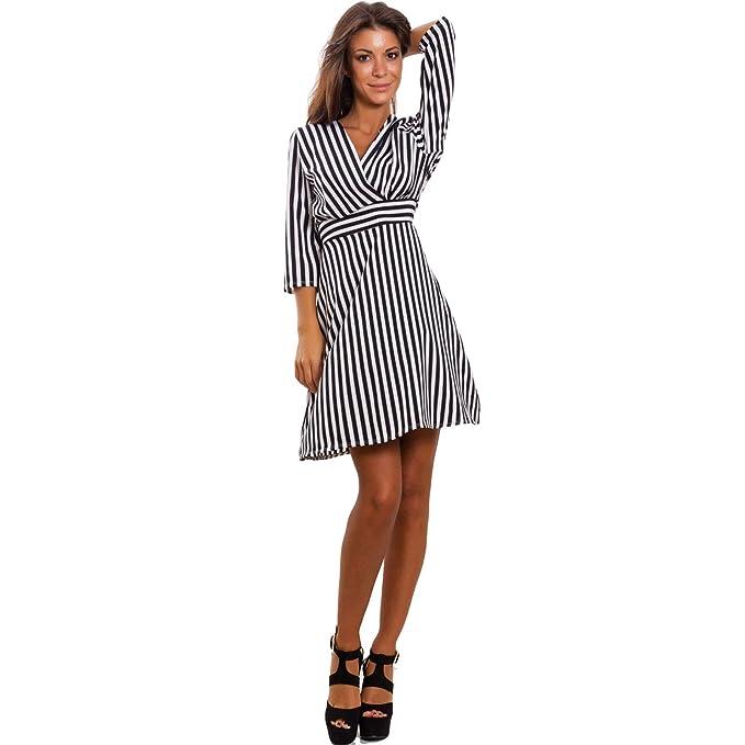 buy online 1a2a2 4a144 Toocool - Vestito Donna Mini Abito Midi Optical Righe ...