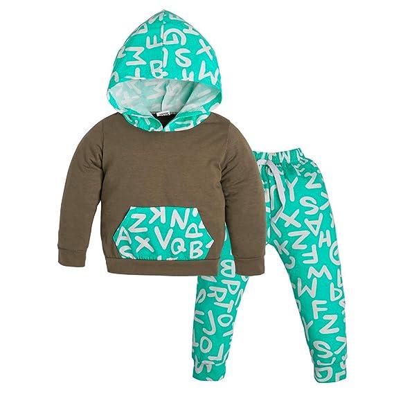 YanHoo Conjuntos de Ropa para bebés niño Traje de Dos Piezas para niños Conjunto de Ropa con Capucha y Estampado de Letras para niños pequeños para bebés y ...