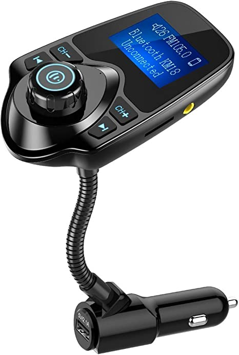 NULAXY Bluetooth Car Transmitter KM18 Radio Adapter Hands-free Talking Car Kit with 1.44 Inch Display and Dual Port USB Wireless In-Car Bluetooth FM Transmitter