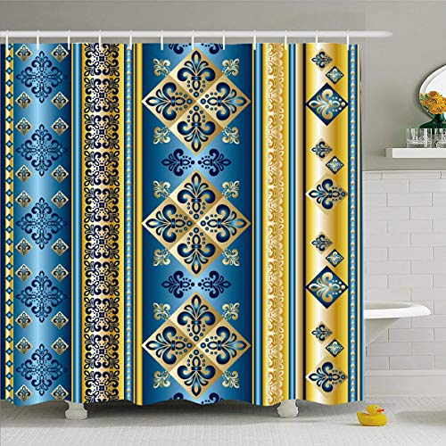 (Ahawoso Shower Curtain 60x72 Inches Blue Royal Lily Abstract Pattern France Arabesque Bright Color Craft Design Waterproof Polyester Fabric Bathroom Curtains Set with Hooks )