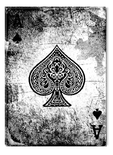 Startonight Canvas Wall Art Lucky Poker Ace of Spades, Black & White USA Design for Home Decor, Dual View Surprise Wall Art 31.5 X 47.2 Inch 100% Original Art Painting! (Ace Canvas)