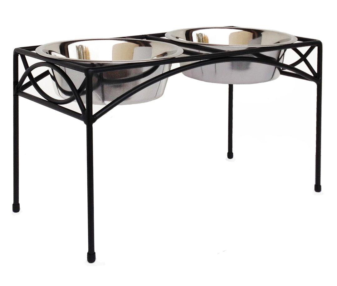 Regal Double Bowl Elevated Diner - 12'' Tall - Raised Dog Feeder - Black - Big, Large, XL Dog Breeds - Pet Feeding Station, Food/Water Bowls - Metal/Steel - NMN Designs