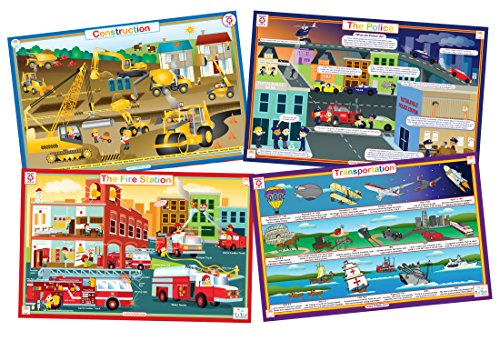 Fire Truck Table - Vehicles- Set of 4 Educational Kids Placemats- Construction, Fire Trucks, Police, Transportation- Reversible Activities Coloring- Waterproof, Washable, Wipeable, Durable, USA-made Tot Talk Table Mats