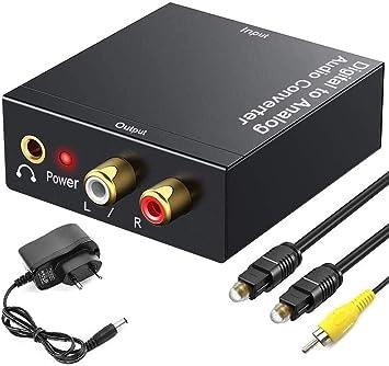 Neefeaer - Conversor de audio digital SPDIF Toslink a analógico con cable óptico/coaxial de 3,5 mm para PS3, PS4, Xbox, HDTV, DVD: Amazon.es: Electrónica
