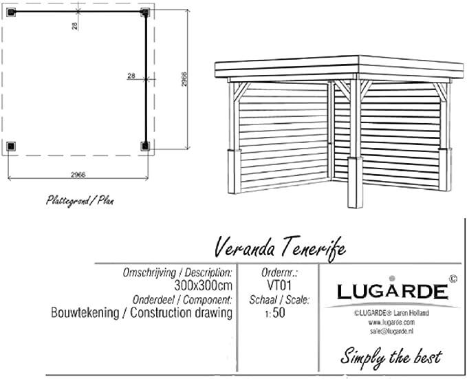 Lugarde Tenerife - Cenador de jardín (madera de abeto, con techo plano y postes en esquinas): Amazon.es: Jardín