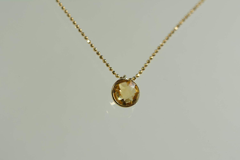 Citrin facettiert an vergoldeter 925er Silberkugelkette