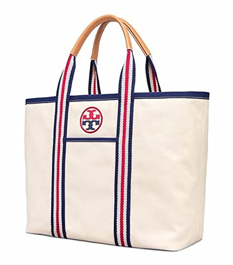 a3f30289a5e Tory Burch Embroidered T large Canvas Tote (Natural)  Amazon.ca ...