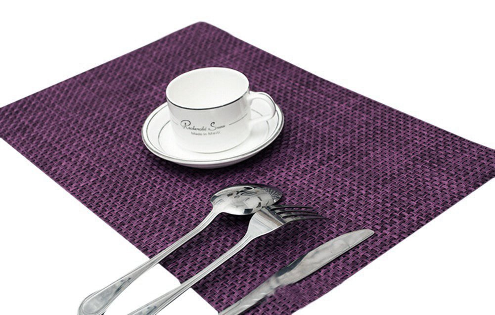 Sealike Vintage Rectangle Woven Placemat Table Mat Set of 4 With Stylus(Purple) - Size:17.7x11.8inch Package includes 4 placemats with a stylus Easy to clean,wipe to clean,washable - placemats, kitchen-dining-room-table-linens, kitchen-dining-room - 61iZEkdsn2L -