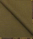 Cadini by Siyaram's Yellow Houndstooth Polyester Viscose Tweed All Weather Jacket & Blazer Fabric (Unstitched - 2 Mtr)