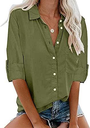 MNLOS Camisas Abotonadas para Mujer Blusa de Bolsillo Mujer Camisa Mangas Cortas Ocio Chaleco Mujer Acolchado Rojo