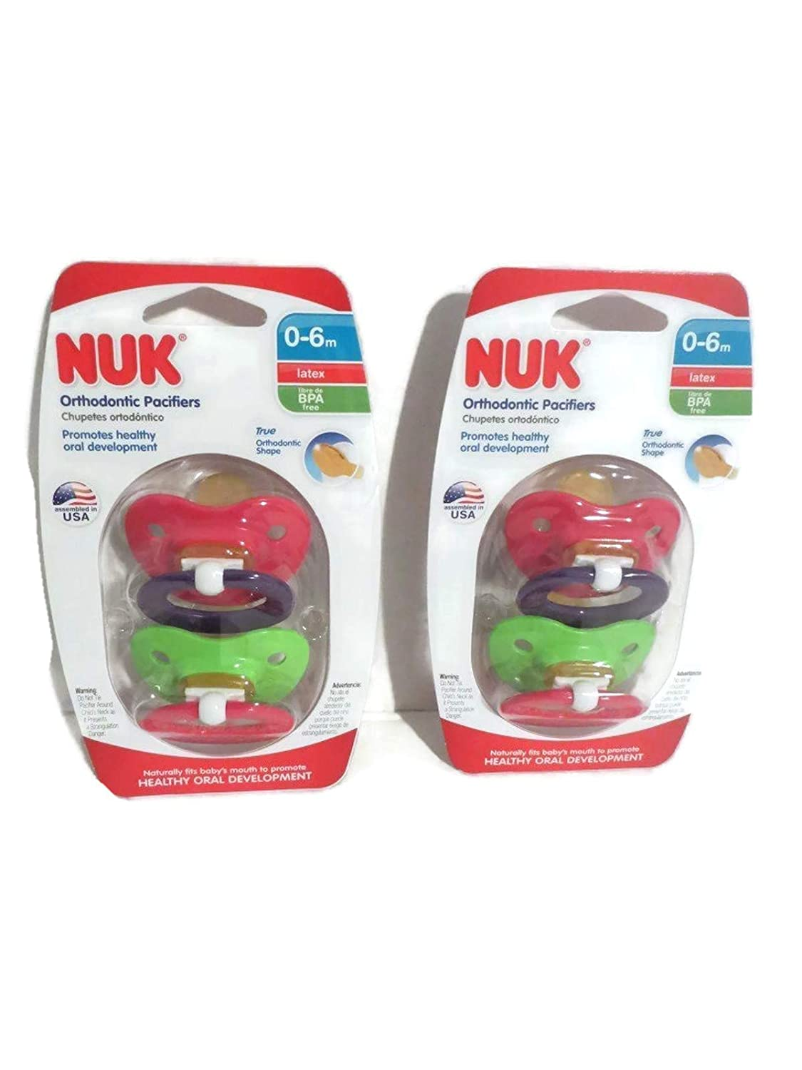 Nuk LATEX Pacifiers 0-6 Mo Girl Pink Orthodontic BPA Free (2 Packages)