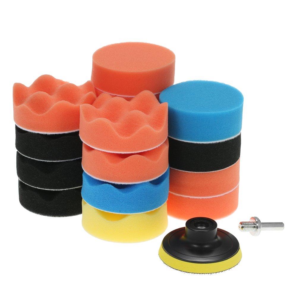 KKmoon 19PCS 3'' 80mm Car Polishing Pads Waxing Foam Buffing Pad Sponge Kit Set for Car Polisher Buffer Waxer Sander Including 17 Polishing Pads + 1 Adhesive Backer Pad with Shank