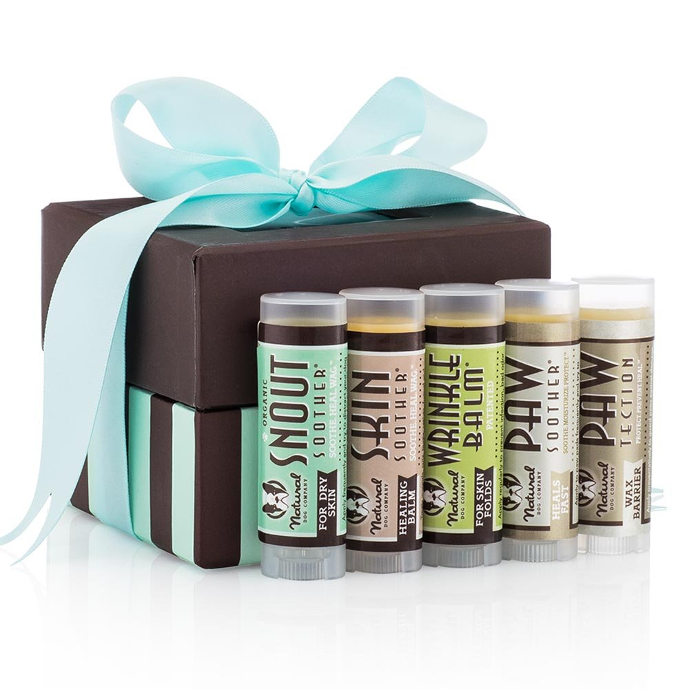 Natural Dog Company Gift Wrapped Powerhouse Travel Set 5 Piece| Organic, All-Natural Ingredients Healing Balms and Scent-Free | Dog Heals Cracked, Skin Fold Dermatitis & Dry Nose