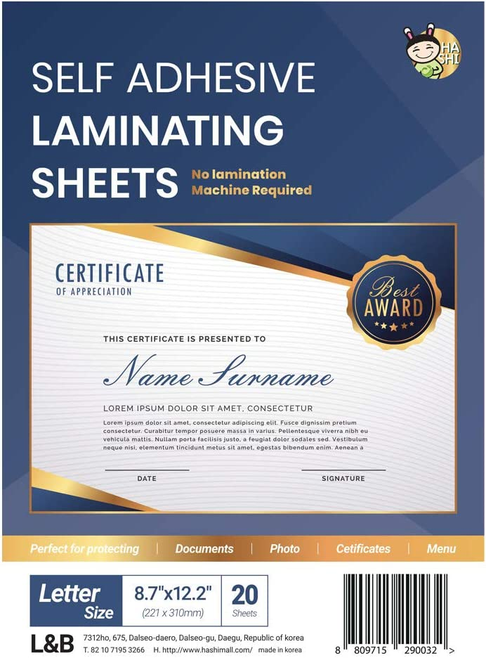 Self Adhesive Laminating Sheets 100 Sheets Letter Size No Machine Need 9 x 12 Inch by HA SHI