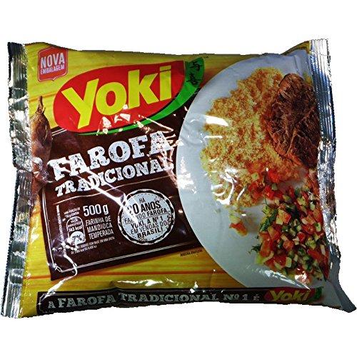 Yoki Seasoned Cassava Flour 17.6oz | Farofa de Mandioca Pronta 500g (Pack of 04)